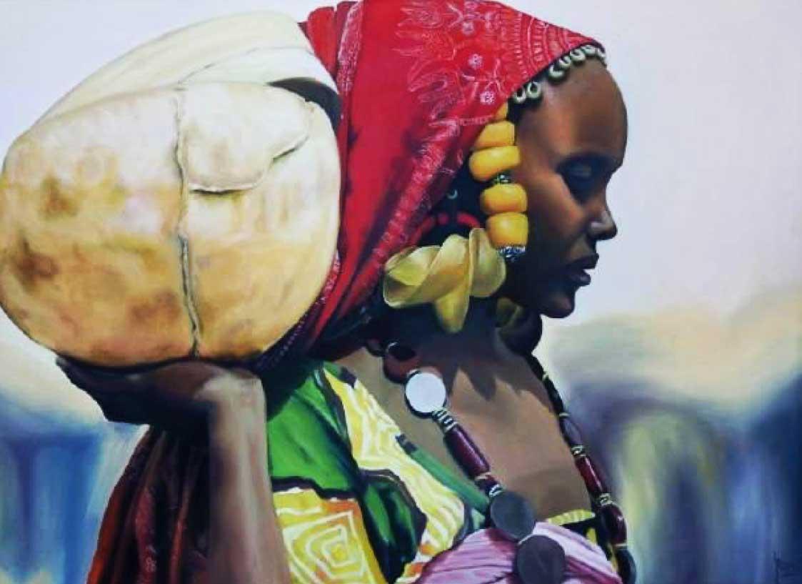 Mujer con pañuelo rojo Técnica empleada: óleo