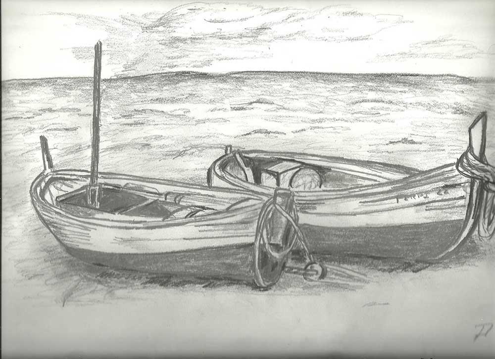 Barcas - Técnica empleada: Carboncillo